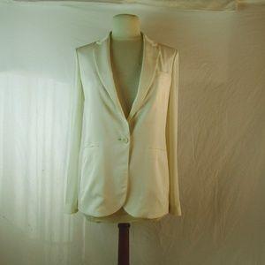 THEORY Silk Winter White Blazer Sz 2 NWOT